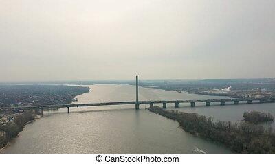 pont, aérien, footage., sur, trafic, bourdon, rivière