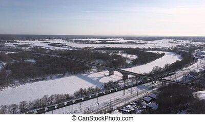 pont, aérien, hiver, sur, jour ensoleillé, autoroute, vue