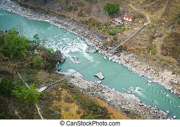 pont, aérien, népal, petit, suspension, vue