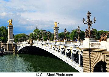Alexander the third bridge over river Seine in Paris, France.
