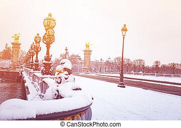 pont alexandre iii, sob, neve, paris, frança