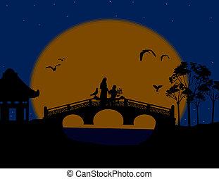 pont, amants, paysage, asie, nuit