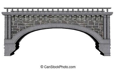 pont, ancien, -, render, 3d