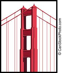 pont, art, portail, doré