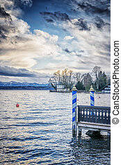 pont, atterrissage, lac, tutzing