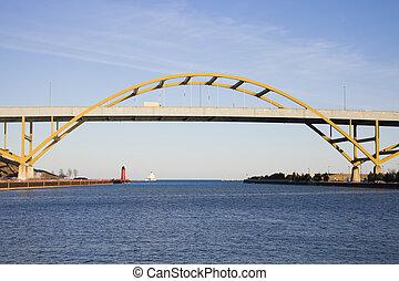 pont, autoroute, lac