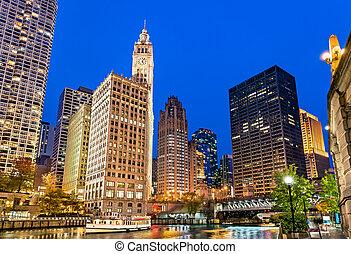 pont, avenue chicago, en ville, michigan