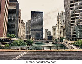 pont, bâtiments, chicago, etats-unis.