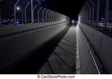 pont, barrière, evening., protection, couloir, vue