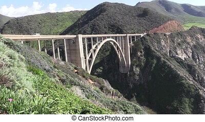 pont, bixby, pacifique, autoroute, côte