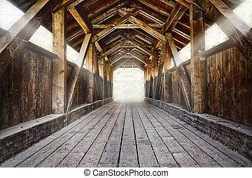 pont bois, à, éclat, rayons