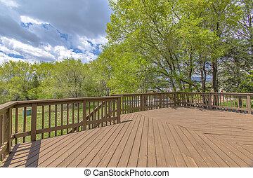 pont, bois, arbres, vert, nuageux, cieux