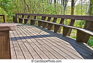 pont, bois, conception, banc