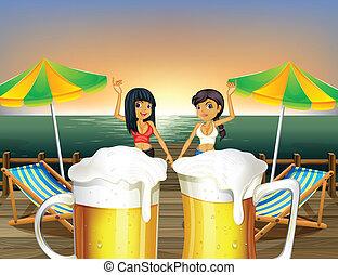 pont bois, dames, bière, cruches