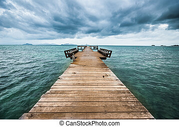 pont bois, mer, étendre