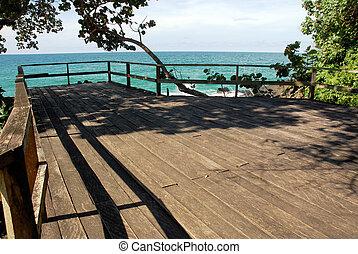pont, bois, mer, sur