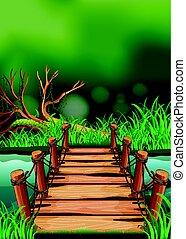 pont bois, rivière, scène, travers