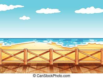 pont bois, scène, plage