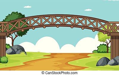 pont bois, scène