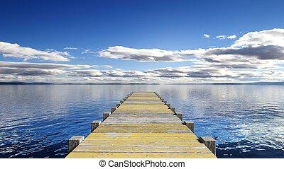 pont, bois, scénique, sur, vue mer