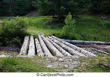 pont bois, sur, ruisseau