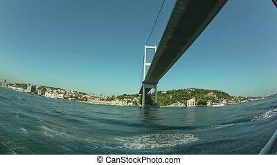 pont, bosphore, coup, fisheye, premier