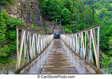 pont, bridge., vieux, suspension, voiture
