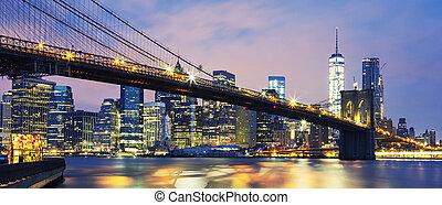 pont brooklyn, à, crépuscule