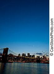 pont, brooklyn, crépuscule