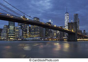 pont brooklyn, par, nuit