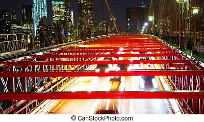 pont, brooklyn, trafic, nuit