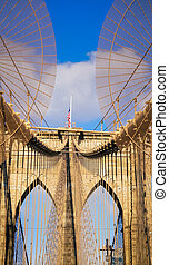 pont, brooklyn, york, ville, nouveau