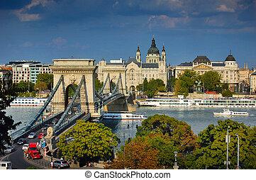 pont, budapest, chaîne, célèbre
