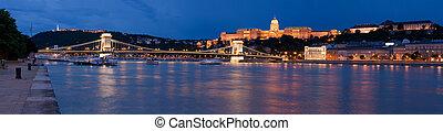 pont, budapest, palais, repère, chaîne, royal, sur, buda, ...