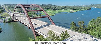 pont, calcaire, colorado, sur, pennybacker, panoramique, rivière, austin, falaise