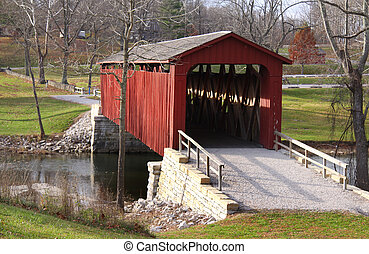 pont, cataracte, couvert