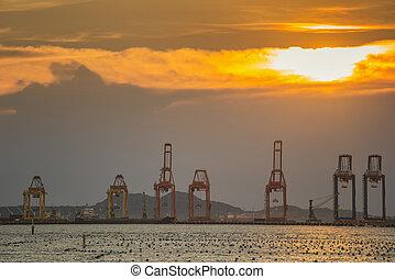 pont, chantier naval, grue, fonctionnement, sunset.