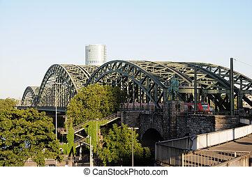 pont, chemin fer, allemagne, fer, cologne
