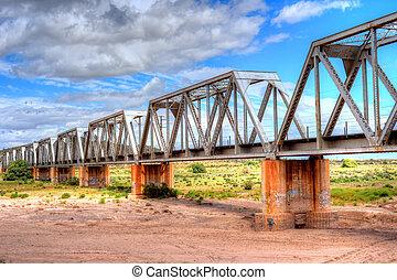 pont, chemin fer, fer