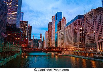 pont, chicago, gratte-ciel, usa, lac, rue