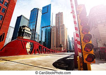 pont, chicago, lumière, sur, trafic, grand, rivière