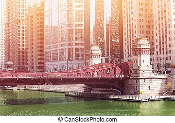 pont, chicago, sur, blvd, rivière, lasalle