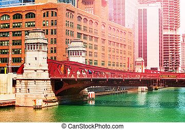 pont, chicago, sur, en ville, blvd, rivière, lasalle