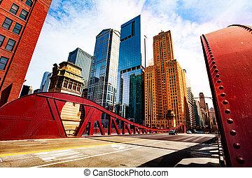 pont, chicago, sur, en ville, rivière, ville