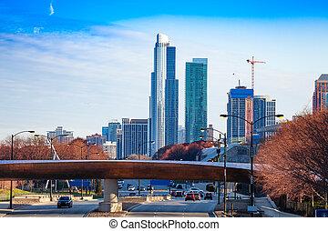 pont, chicago, sur, horizon, gratte-ciel, route