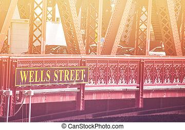 pont, chicago, sur, puits, signe, rue, rivière