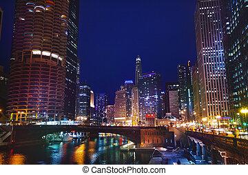pont, chicago, sur, rue, nuit, dearborn, rivière