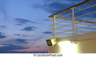 pont, ciel, défaillance, temps, bateaux, nuit, devant, mer
