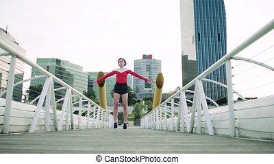 pont, city., femme, jeune, dehors, exercice