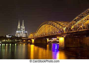 pont, cologne, allemagne, (koeln), cathédrale, hohenzollern...